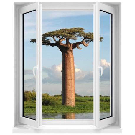 Sticker Fenêtre trompe l'oeil Baobbab