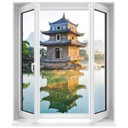 Sticker Fenêtre trompe l'oeil Temple