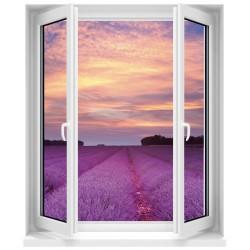Sticker Fenêtre trompe l'oeil Champ de lavande