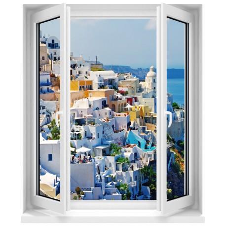 Sticker Fenêtre trompe l'oeil La Grèce