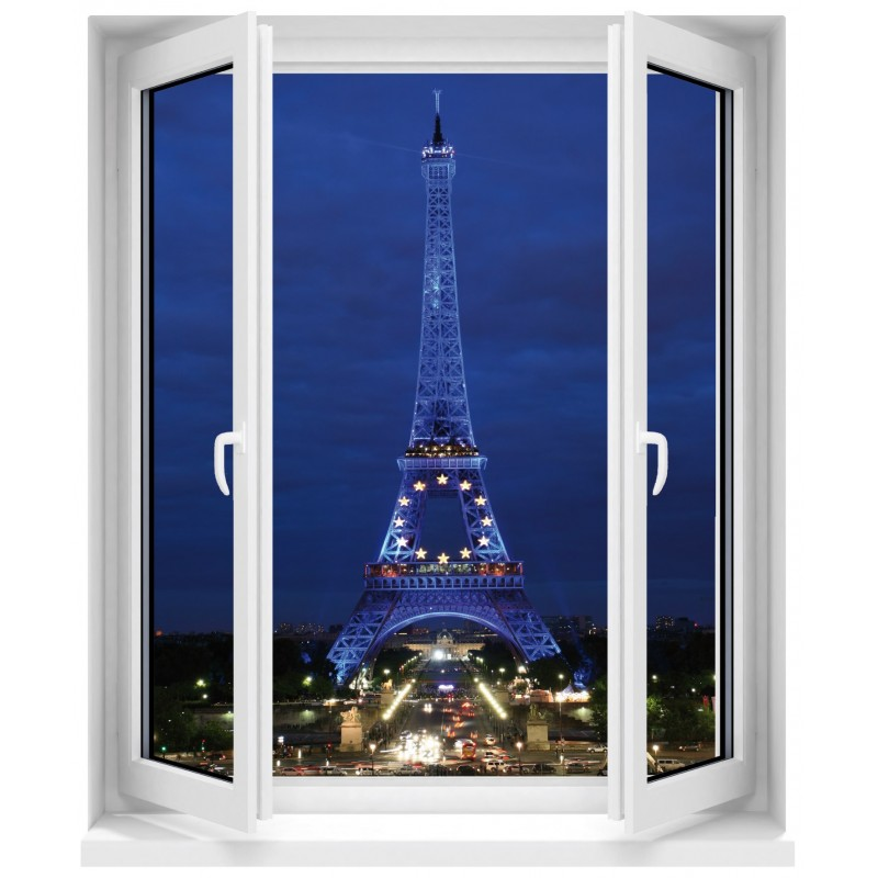 sticker fen tre trompe l 39 oeil paris tour eiffel art d co stickers. Black Bedroom Furniture Sets. Home Design Ideas