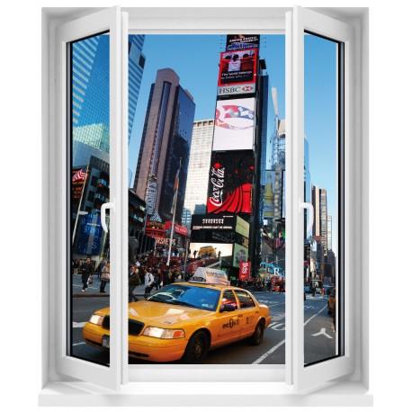 Sticker Fenêtre trompe l'oeil New York taxi