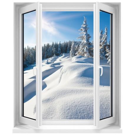 Sticker Fenêtre trompe l'oeil paysage montagne