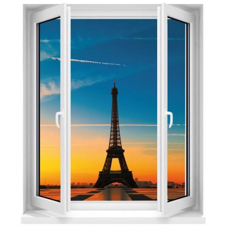 Sticker Fenêtre trompe l'oeil Tour Eiffel