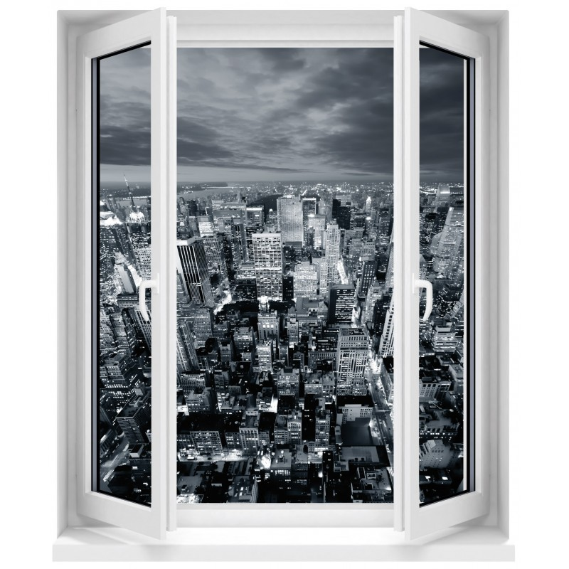 sticker fen tre trompe l 39 oeil new york art d co stickers. Black Bedroom Furniture Sets. Home Design Ideas