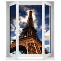 Sticker Fenêtre trompe l'oeil Tour Eiffel Sépia