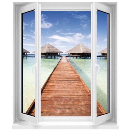 Sticker Fenêtre trompe l'oeil Les Maldives
