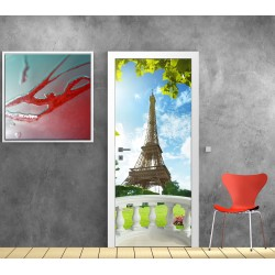 Stickers porte Balcon Tour Eiffel