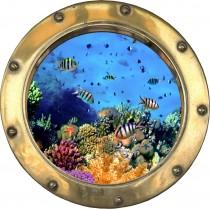 Sticker hublot trompe l'oeil petits poissons