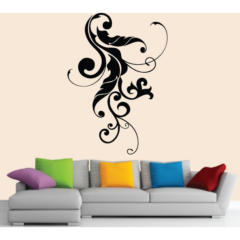 stickers muraux floral design art d co stickers. Black Bedroom Furniture Sets. Home Design Ideas
