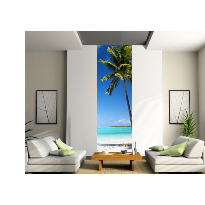 sticker mural g ant trompe l 39 oeil palmier art d co stickers. Black Bedroom Furniture Sets. Home Design Ideas