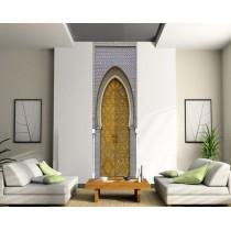 Sticker géant trompe l'oeil porte orientale mosaique