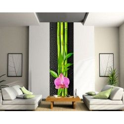 Sticker géant trompe l'oeil Fleur Bambou