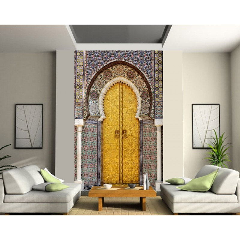 sticker mural g ant trompe l 39 oeil porte orientale art d co stickers. Black Bedroom Furniture Sets. Home Design Ideas