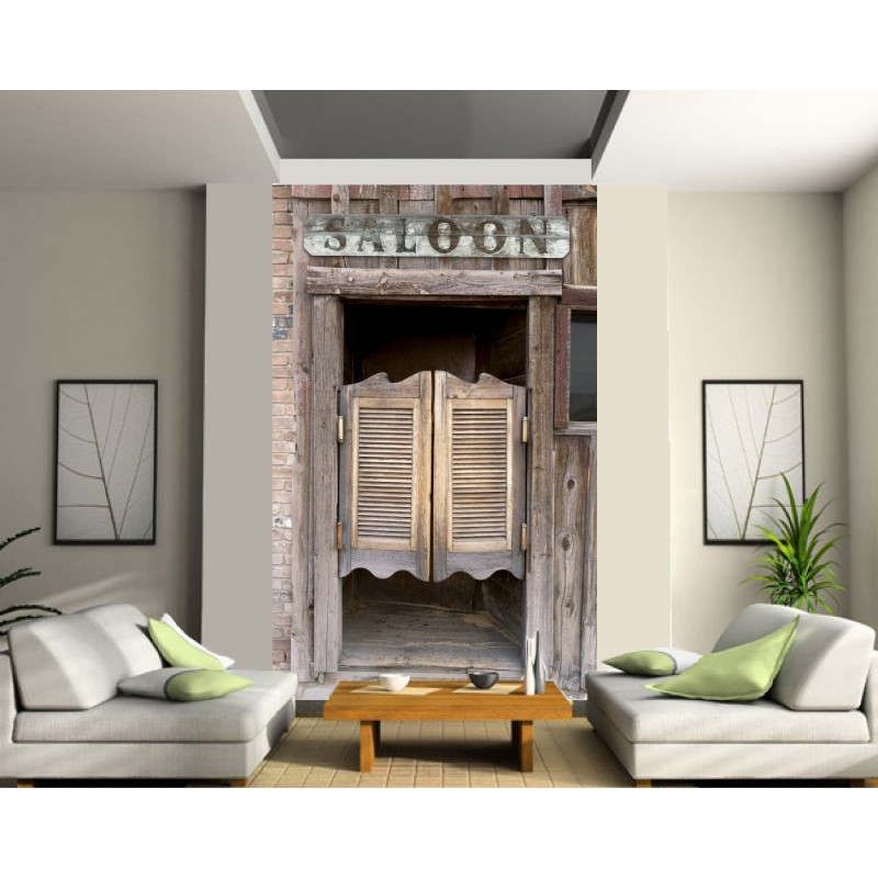 sticker mural g ant trompe l 39 oeil porte de saloon art d co stickers. Black Bedroom Furniture Sets. Home Design Ideas