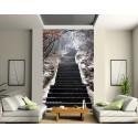 Sticker mural géant trompe l'oeil escalier