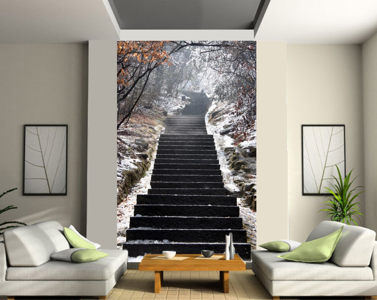 sticker mural gant trompe loeil escalier art dco stickers