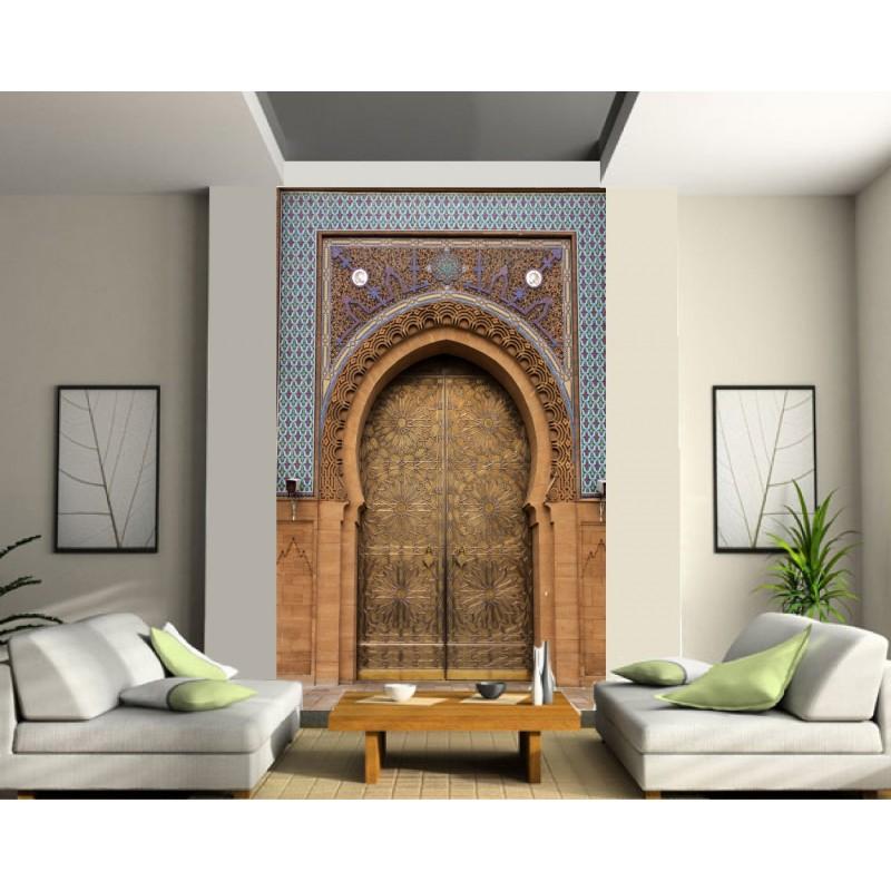 sticker mural g ant porte orientale marron art d co stickers. Black Bedroom Furniture Sets. Home Design Ideas
