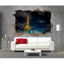 Stickers 3D Trompe l'oeil Paris Tour Eiffel réf 23289