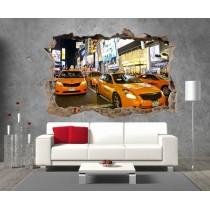 Stickers 3D Trompe l'oeil New York Taxi réf 23292