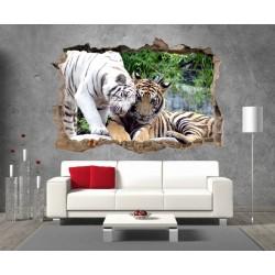Stickers 3D Trompe l'oeil Tigres réf 23293