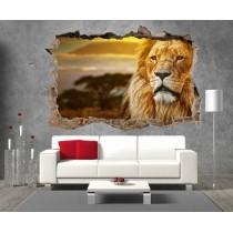 Stickers 3D Trompe l'oeil Lion réf 23295