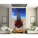 Sticker mural géant trompe l'oeil Locomotive