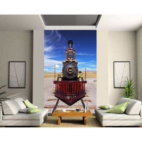 Sticker mural g ant trompe l 39 oeil locomotive art d co - Deco trompe l oeil mural ...