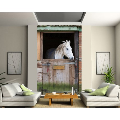 Sticker mural géant trompe l'oeil cheval
