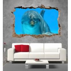 Stickers 3D Trompe l'oeil dauphin réf 2330