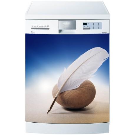 Stickers lave vaisselle ou magnet Plume Galet