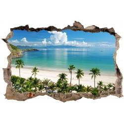 Stickers 3D Trompe l'oeil Seychelles réf 23738