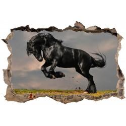 Stickers 3D Trompe l'oeil Cheval Noir réf 23741