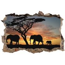 Stickers 3D Trompe l'oeil Eléphants
