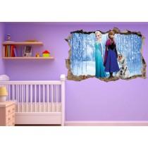 Stickers enfant 3D La reine des neiges
