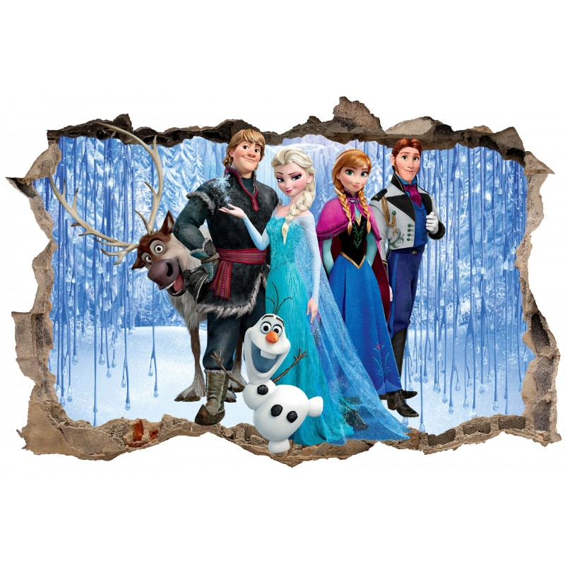 stickers enfant 3d la reine des neiges art d co stickers. Black Bedroom Furniture Sets. Home Design Ideas