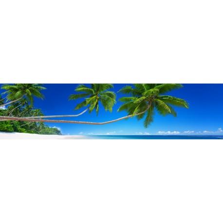 brise vue imprim panoramique d co plage palmier art d co stickers. Black Bedroom Furniture Sets. Home Design Ideas