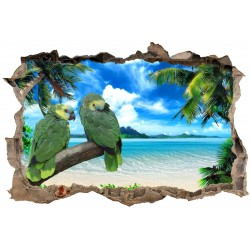 Stickers 3D Trompe l'oeil Perroquets 23836
