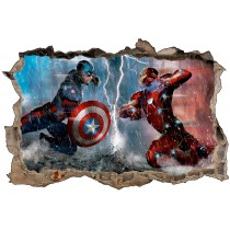 Stickers enfant 3D Captain américa VS Iron Man