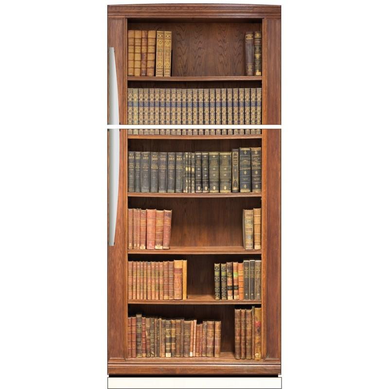 Sticker frigo trompe l 39 oeil biblioth que 70x170cm art - Stickers frigo 2 portes ...