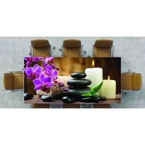 Nappe déco imprimée galet zen avec fleur violette réf 2539