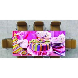 Nappe déco imprimée gateau rose réf 2542