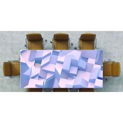 Nappe déco imprimée cube 3D sur fond blanc 2546