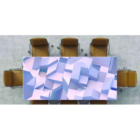 Nappe déco imprimée cube 3D sur fond blanc