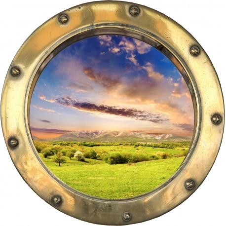 Sticker hublot paysage