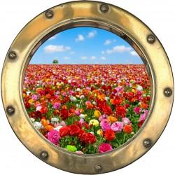Sticker hublot trompe l'oeil Champ de fleurs