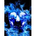Stickers crâne flammes bleues ref NL19-012