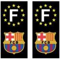 2 Stickers autocollant plaque d'immatriculation noir FC Barcelone