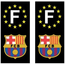 2 Stickers autocollant plaque d'immatriculation noir FC Barcelone