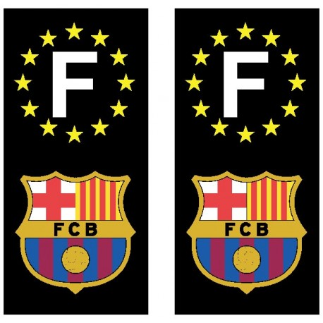 2 Stickers autocollant plaque d'immatriculation FC Barcelone